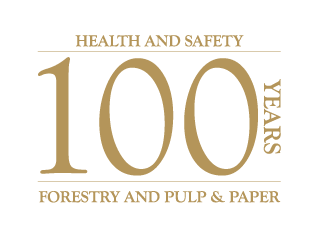 Logo for 100th anniversary of Ontario forestry, pulp and paper health and safety associations