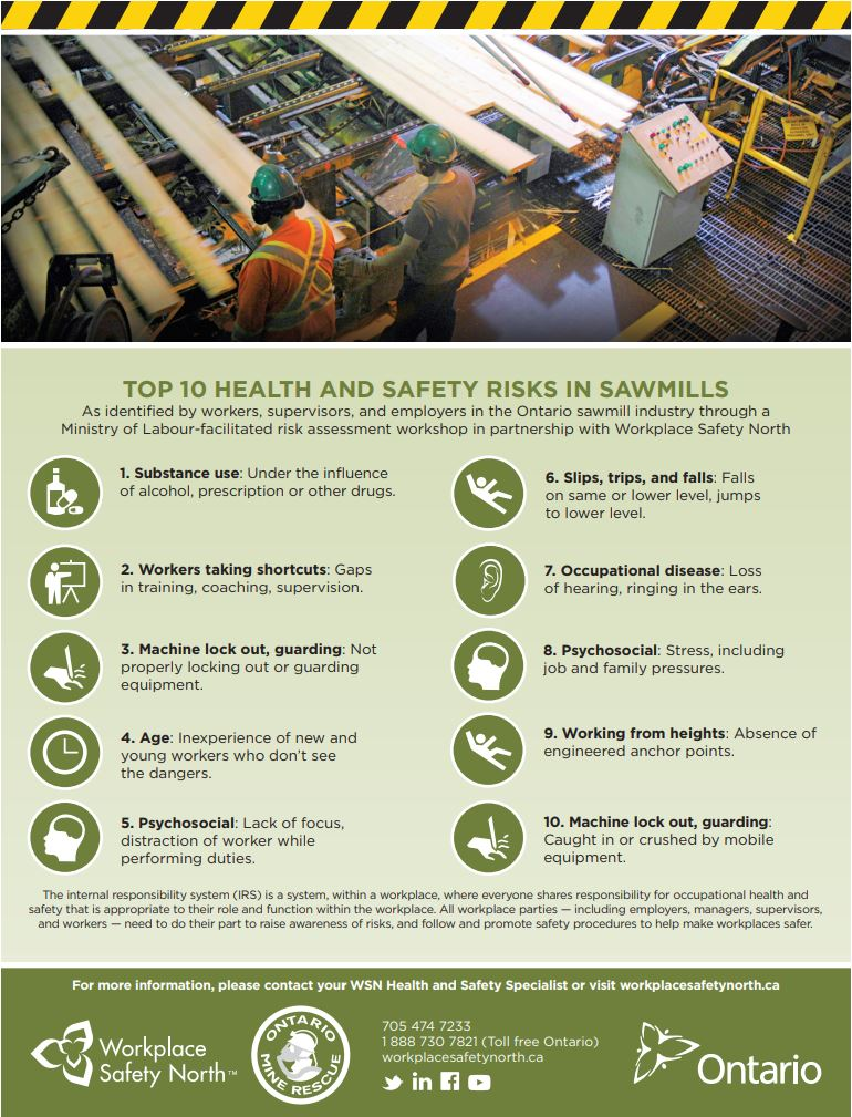 Infographic poster of top 10 health and safety risks in sawmills