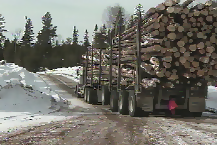 Loaded forestry logging truck driving on winter road