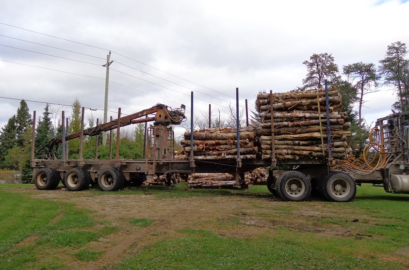 Logging truck with self-loader