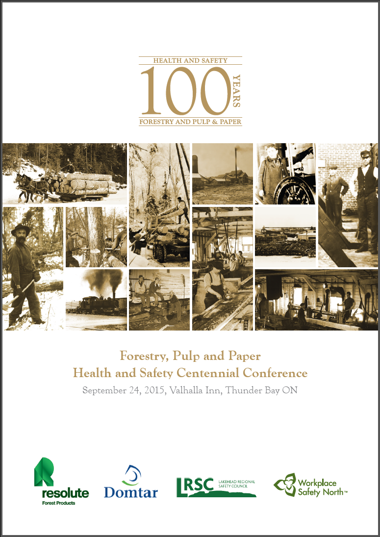 Cover of 100th anniversary program for Ontario forestry health and safety