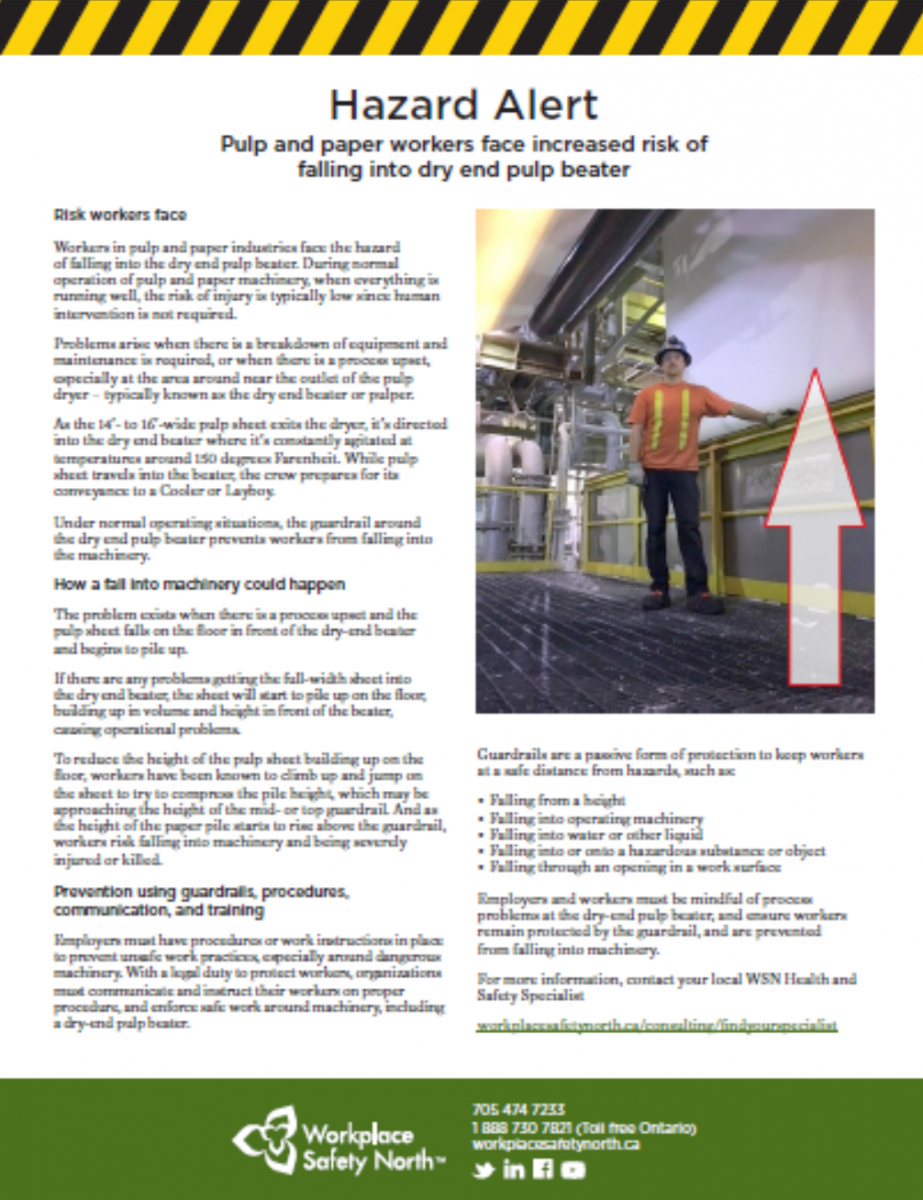 Cover of workplace hazard alert for pulp and paper workers