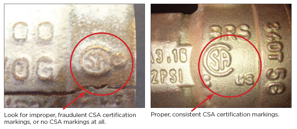 Side by side comparison of improper and proper CSA markings