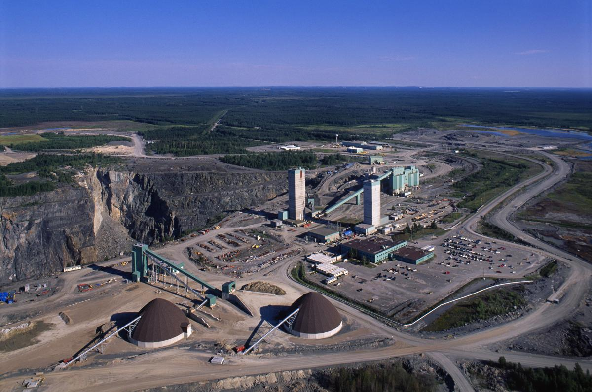 Aerial photo of Kidd Operations mine and mill