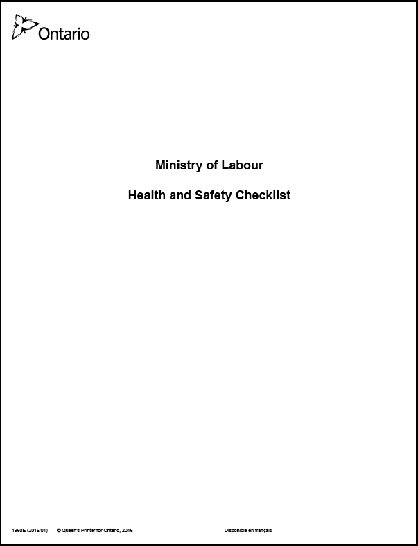 ministry of labour health and safety checklist