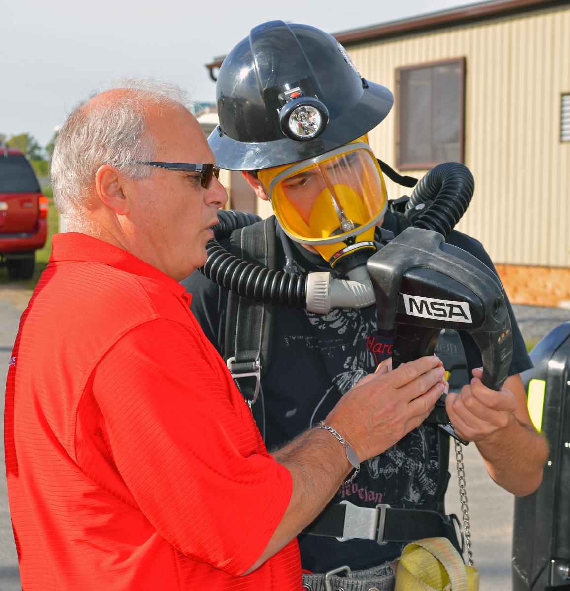 Mine Rescue Officer instructs student