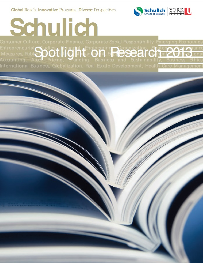 Magazine cover of 2013 research highlights from York U's Schulich School of Business