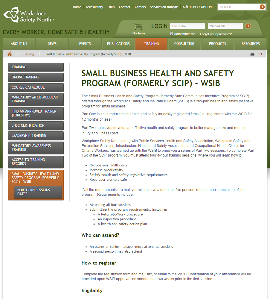 Small Business Health and Safety Program (formerly SCIP) - WSIB webpage thumbnail