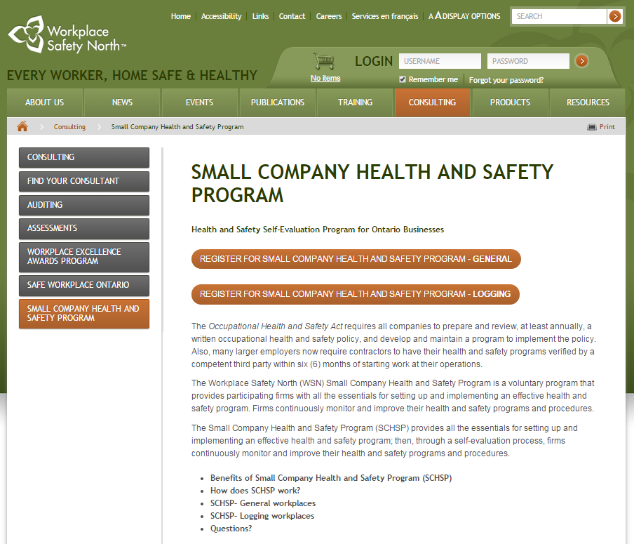 Small company health and safety program webpage thumbnail