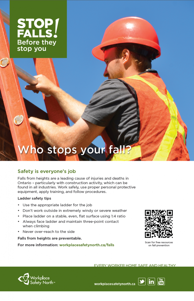 Workplace safety posters - Stop Falls Poster Ladder