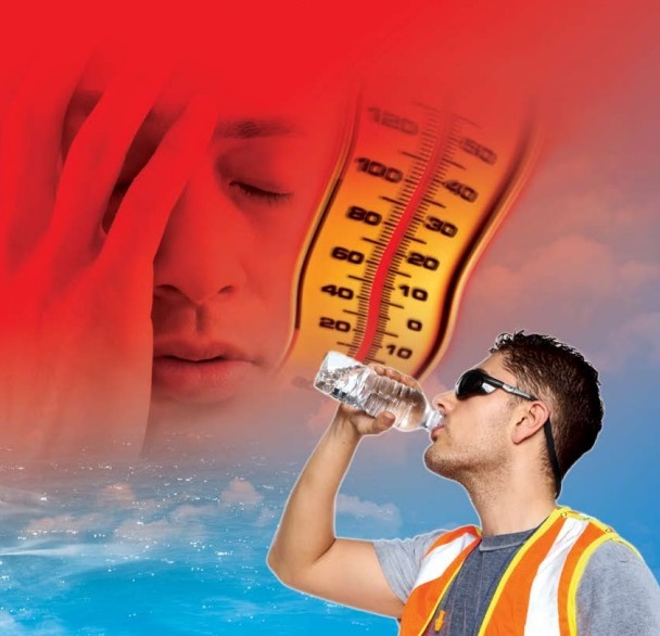Worker drinking water; thermometer with high temp