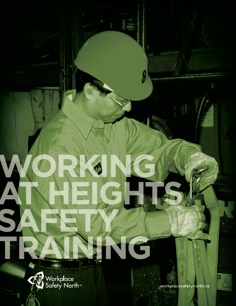 Worker checking condition of fall arrest harness