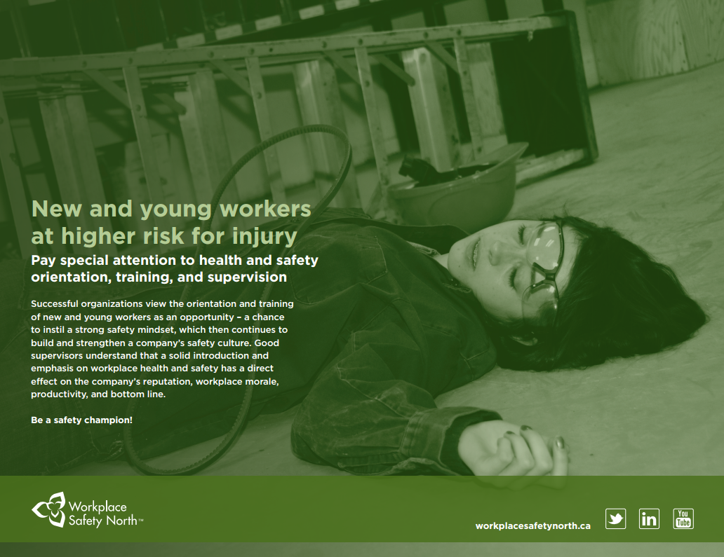 Young female worker laying injured on the ground