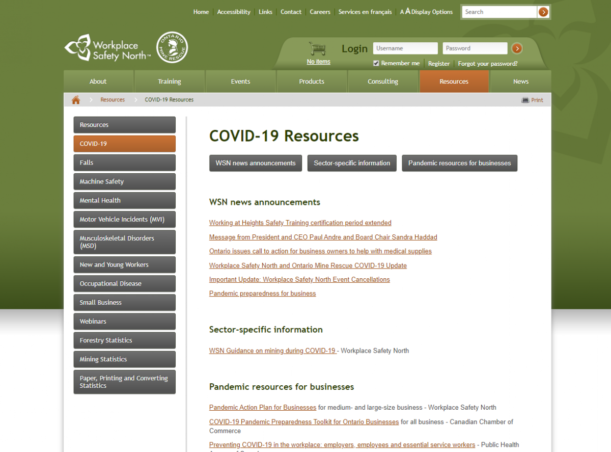 Image of COVID-19 resources for businesses webpage