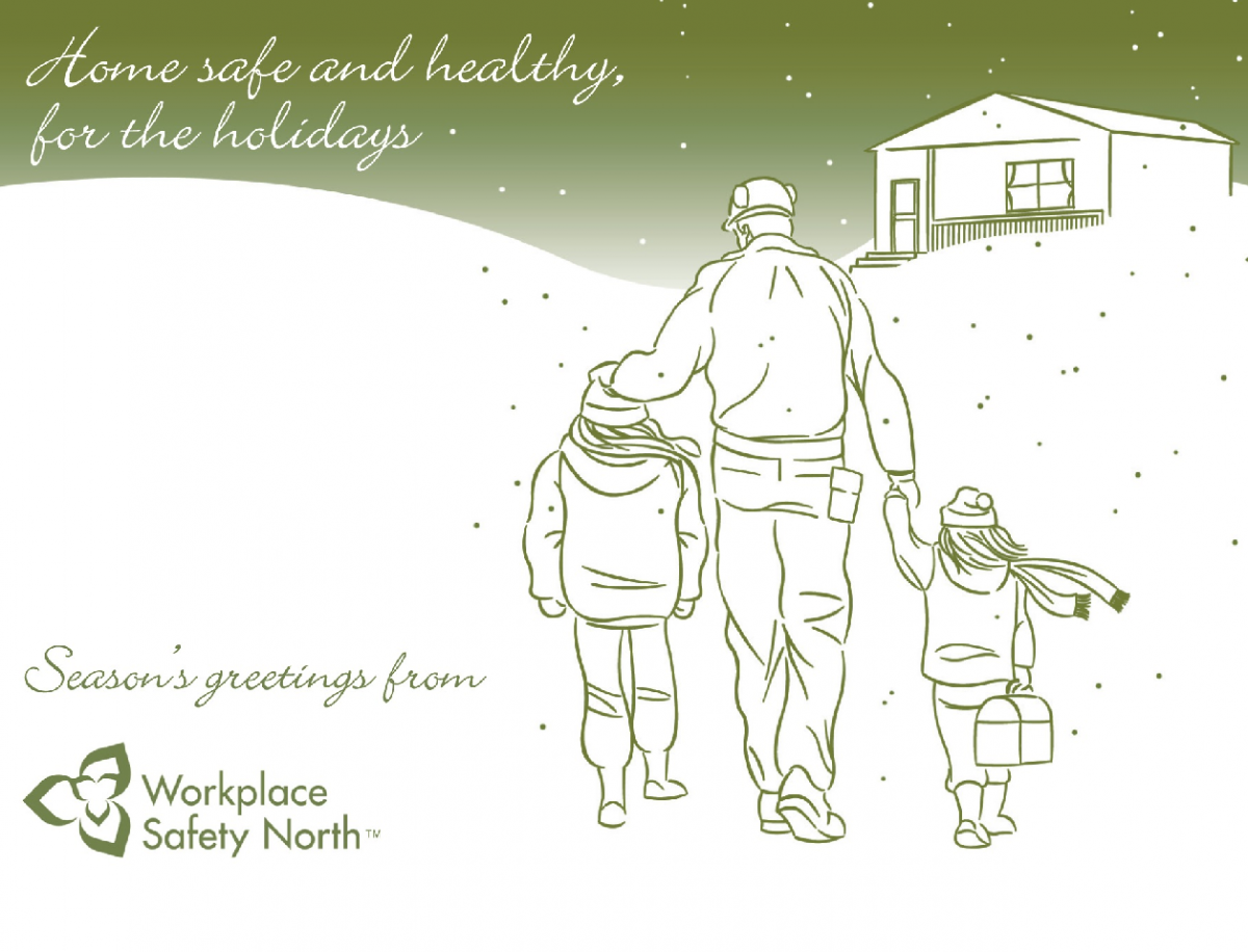 Holiday postcard shows dad and kids walking in snow toward house