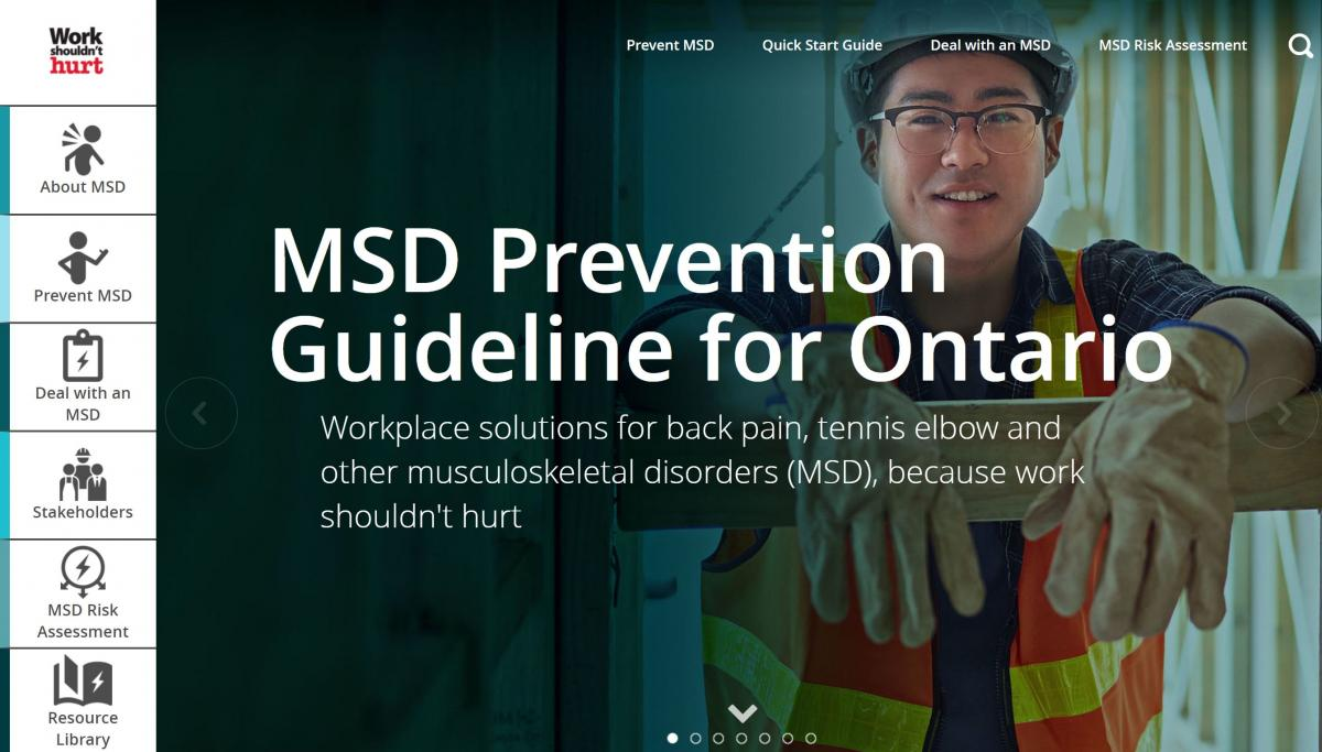Musculoskeletal disorder (MSD) prevention resources webpage