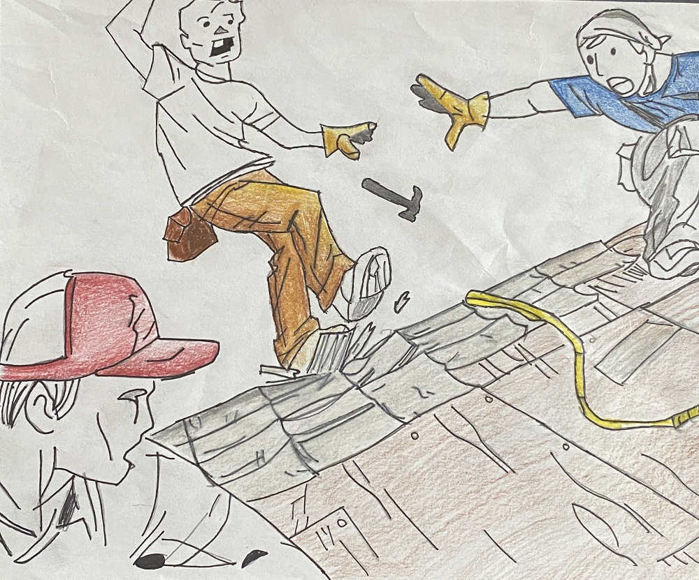 original student artwork about workplace safety