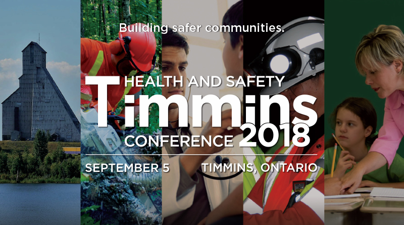 Timmins Health and Safety Conference logo with images