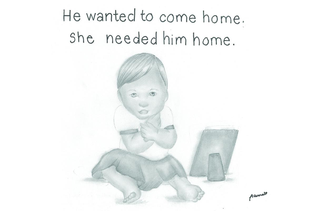 Drawing of toddler looking at photograph