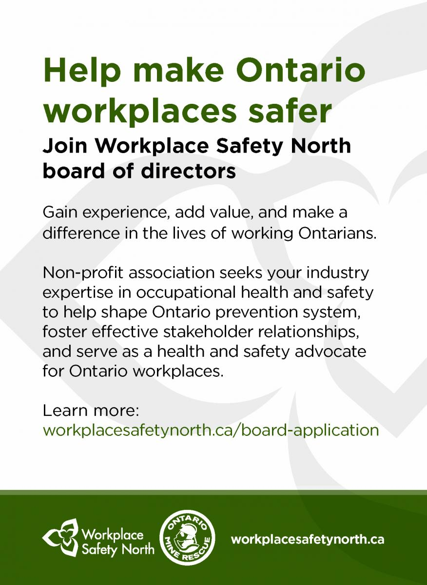 Workplace Safety North Board of Directors recruitment ad