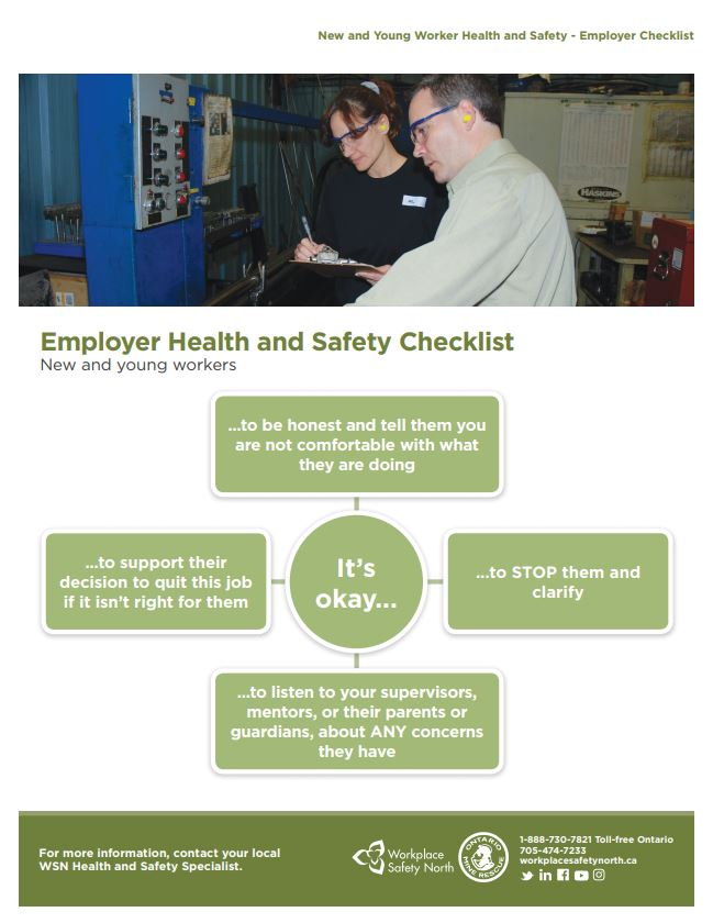 Cover of New and Young Worker Health and Safety - Employer Checklist