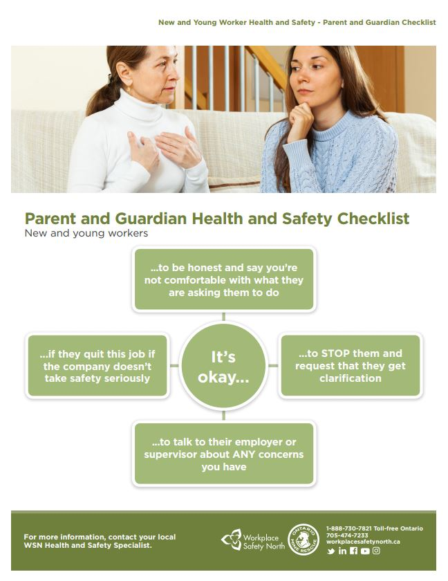 Cover of New and Young Worker Health and Safety - Parent-Guardian Checklist