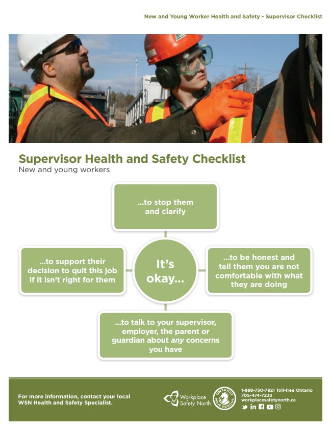 Cover of New and Young Worker Health and Safety - Supervisor Checklist
