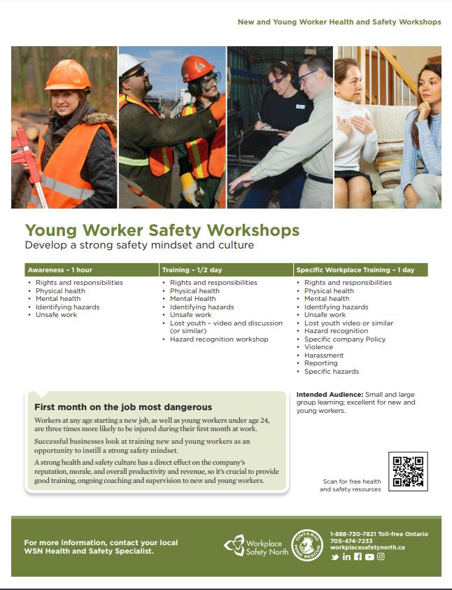 Cover of New and Young Worker Safety Workshops information sheet